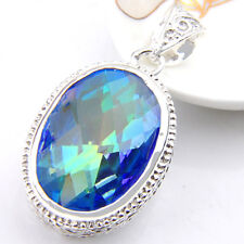Dreamlined Oval Rainbow Mystic Topaz Gems Solid Vintage Silver Necklace Pendants