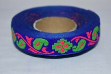Indian Culture New Trim Border Blue Phulkari Design Hand Beaded 9 Yards Ribbon