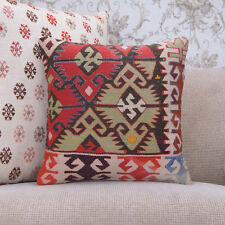 "Unique Handmade Rug Pillow Cover 16x16"" Geometric Anatolian Kilim Cushion"