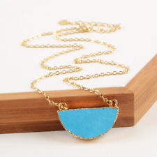 """SALE 1Pcs 18"""" Gold Plated Half Moon Blue Howlite Stone Connector Necklace BCL172"""