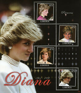 Liberia Royalty Stamps 2010 MNH Princess Diana Famous People 4v M/S III