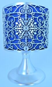 BATH & BODY WORKS ORNATE SNOWFLAKE PEDESTAL 3 WICK CANDLE HOLDER NEW!