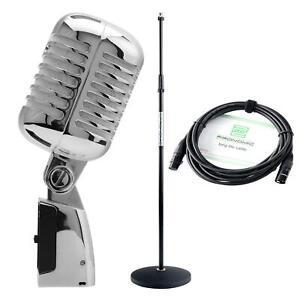 Dynamique Elvis Microphone rétro vintage Rockabilly Set Statif et un Câble