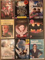 A Collection of 9 Popular DVDs Kite Runner, Batman, Notebook, Millican -see list