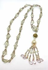 VTG Estate Beaded Lariat Flapper Crystal Art Glass Long Necklace Art Deco