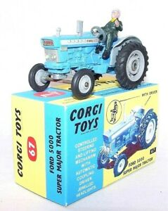 Corgi Toys 1:43 FORD 5000 SUPER MAJOR Tractor With Driver & Repro Box Nice! `67!