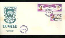 Postal History Tuvalu FDC #B1-B2 Princess Diana royal wedding 1982