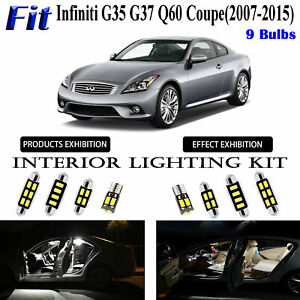9pcs HID White LED Interior Light Kit For Infiniti G35 G37 Q60 Coupe 2007-2015