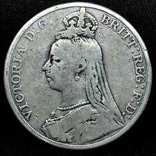 1889 GREAT BRITAIN VICTORIA JUBILEE HEAD  CROWN SILVER COIN - RARE. KM #765