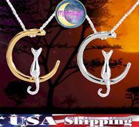 New Moon Cat Crescent Silver Gold Halloween Kitten Pendant Chain Necklace