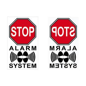 Set Aufkleber 4cm rot Stop Alarm System gespiegelt normal Fenster Innenseite