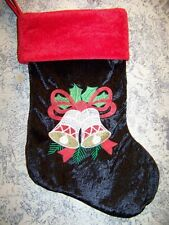Black red velour CHRISTmas stocking bells holly leaf wall hanging deco 9x16""
