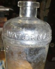 "HUGE 8 3/4"" Waterman's PEN INK Glass Bottle 32 oz 100+ 1880 PERFECT WAVY GLASS"