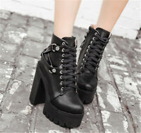 WOmens platform High Block Heels Punk Gothic Lace Up high TOp Ankle Martin Boots