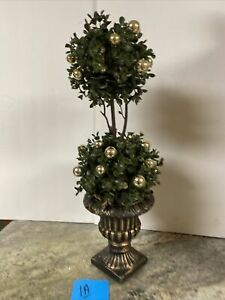 """22"""" Boxwood Topiary in Urn Champagne Gold Ornament Accents Valerie Parr Hill (1a"""