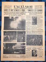 La Une Du Journal Excelsior Mercredi 7 Février 1934 Nuit D'émeute À Paris