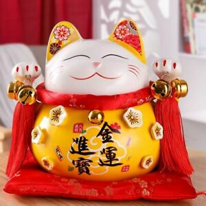 Fortune Cat Figurine Ceramic Lucky Craft Maneki Piggy Sculpture Animal Statue