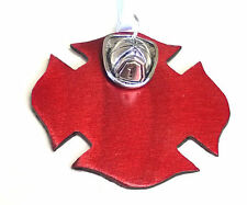 Firefighter Christmas Ornament Die Cut Metal Maltese Cross & Silver Helmet Charm