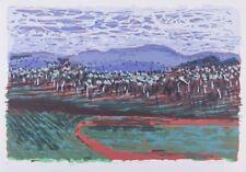 Gail ENGLISH Hills Like Blue Elephants ORIGINAL screenprint - LANDSCAPE ABSTRACT