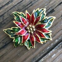 Vintage Christmas Poinsettia Floral Brooch Red Green Gold Holiday Flower Pin