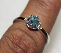 0.67CT NATURAL GREENISH BLUE ROUGH UNCUT RAW DIAMOND 925 SILVER WEDDING RING N R