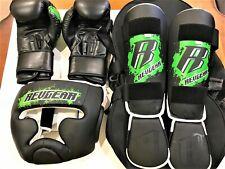 Revgear Boxing Gloves, Headgear, Shin guards, and Duffel Bag