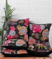 5 Pcs Black Floral Indian Handmade Kantha Throw Pillows Boho Handmade Decorative