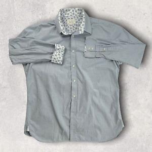 Ted Baker London Edged Box Endurance Fit Long Sleeve Shirt In Gray SZ 17 34/35