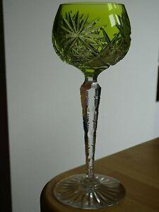 ONE ANTIQUE ROEMER WINE GLASS CRYSTAL VAL SAINT LAMBERT pattern yellow
