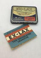 Vintage Advertising Medicine Empty Tin EX LAX CHOCOLATE LAXATIVE W/ Instructions
