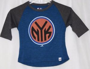 NEW Boys Girls Kids Youth MAJESTIC NY KNICKS 3/4 Raglan Sleeve NBA Logo Shirt