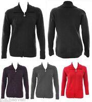 Ladies New Knit Zip Jacket Cardi Plus Size 16 - 26 Black Grey Purple Red *LICK*