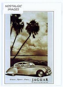 Nostalgic 1954 Jaguar Mark 7 greeting card. Hand made, blank inside. Unique.