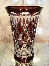 VAL SAINT-LAMBERT - Vase en cristal clair doublé prune  - non signé