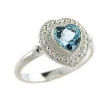 925 Silver Blue Topaz Bali Bead Heart Ring Size 8