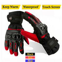 Thermal Winter Leather Motorcycle Motorbike Bike Waterproof Gloves Touch Screen