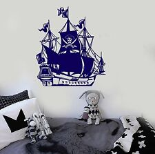 Vinyl Wall Decal Pirate Ship Nautical Ocean Sea For Kids Room Stickers (ig1465)