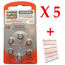 5 plaquettes de 6 piles auditives 13 (orange) RAYOVAC pour appareils auditifs