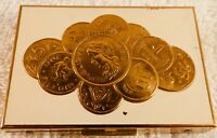 Vintage Brass Coin Case, French Coins Replicas on Lid
