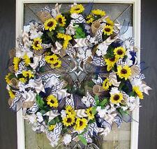 XL Bright Spring Summer Sunflower Front Door Deco Mesh Wreath, Farmhouse
