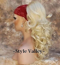 Light Blonde Ponytail Extension Drawstring Hair Piece Wavy Hairpiece includ clip
