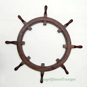 """Rustic Picture Frame Ship's Steering Wheel 36"""" Teak Nautical Wall Decor New"""