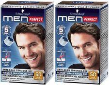 2 x Schwarzkopf Men Perfect - For Men - Gentle Hair Color Gel - Light Brown 50