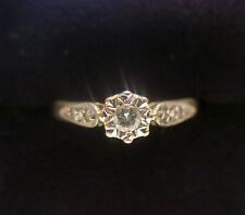Vintage Diamond ring, 5 round Brilliant cut shoulders, Engagement, Size L