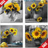 Rtriel Sunflower Canvas Wall Art Yellow Floral Pictures Blossom Flowers Black...