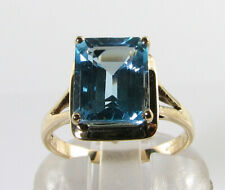 BIG 9K 9CT GOLD 10mm x 8mm EMERALD CUT BLUE TOPAZ ART DECO INS RING FREE RESIZE