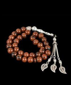 Islamic Tasbeeh 33 beads Obsidian Gem 10mm Prayer Beads Tasbih Islam Misbaha UK