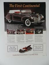 Franklin Mint 1941 FORD LINCOLN CONTINENTAL Brochure Pamphlet Mailer (S)