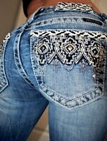 Miss Me Buckle {Mid Rise Boot Embellished Jeans} Womens Low Rise Denim 26 x 32.