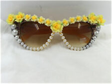 New lovely yellow with pearl  rose clay flower cat eye UV 400 Sunglass